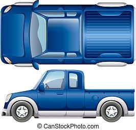 A blue vehicle