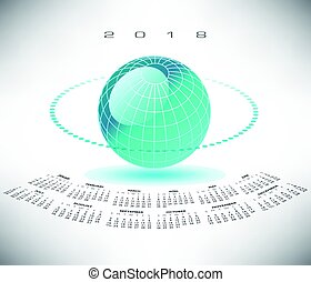 A bluegreen globe 2018 calendar