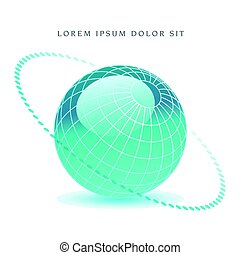 A bluegreen globe with a dotted ring