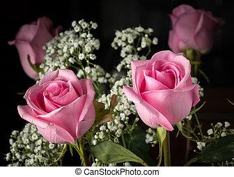 a, blumen blumenstrauß, mit, rosafarbene rosen, und, atem babys