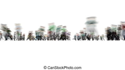A blurred shot of running people on white