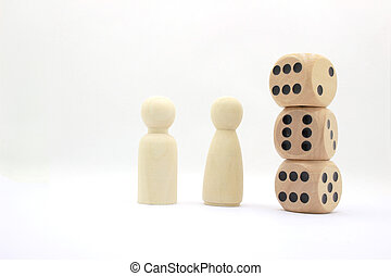Board Game Pieces and Dice on white board
