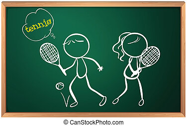 A board with a drawing of a girl and a boy playing tennis