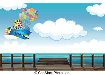 Illustration of a boastful monkey flying on a plane