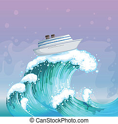 A boat above the big wave