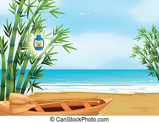 A boat at the shore - Illustration of a boat at the shore