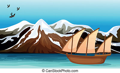 A boat floating near the mountain area