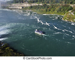 A boat in a river next to Niagara falls