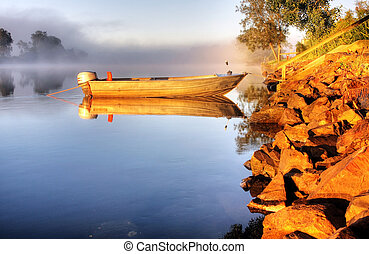 A boat in mist