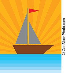 a boat in sea