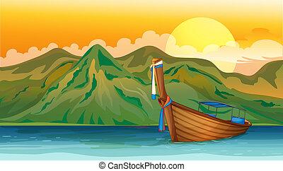 A boat lost in the sea