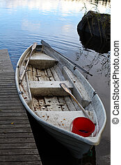 A boat on a lake