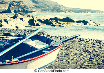 a boat on a shore