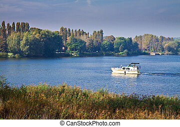 A boat on the river Havel in Germany.