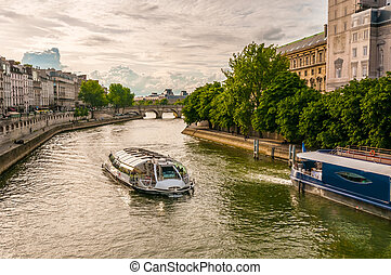 A boat on the Seine in Paris