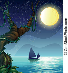 A boat sailing in the middle of the night - Illustration of...