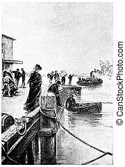 A boat was coming off of the pier, vintage engraving. - A ...