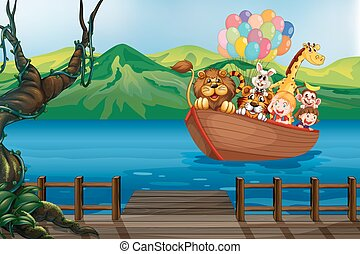 A boat with animals