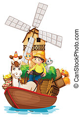 A boat with farm animals and farm fruits - Illustration of a...