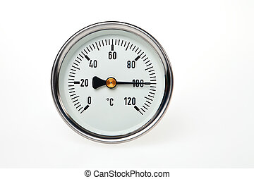 A circular thermometer on a white background with water boiling point temperature.