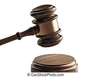 a, bois, juge, marteau, et, caisse de résonnance, isolé, blanc, arrière-plan.