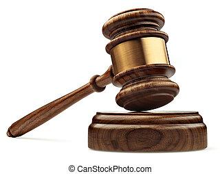 a, bois, juge, marteau, et, caisse de résonnance, isolé,...
