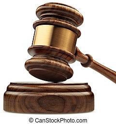 a, bois, juge, marteau, et, caisse de résonnance, isolé, blanc, fond, dans, perspective