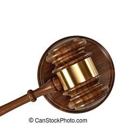 a, bois, juge, marteau, et, caisse de résonnance, isolé, blanc, fond, vue dessus