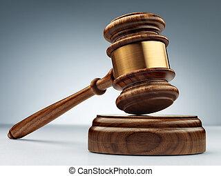 a, bois, juge, marteau, et, caisse de résonnance, sur, arrière-plan bleu, dans, perspective