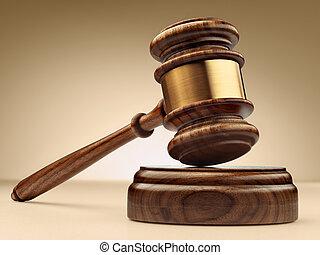 a, bois, juge, marteau, et, caisse de résonnance, sur, arrière-plan brun, dans, perspective