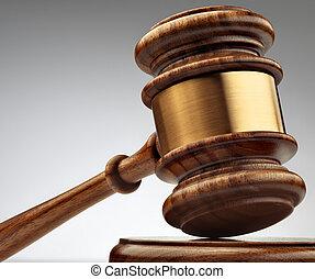 a, bois, juge, marteau, et, caisse de résonnance, sur, gris, fond, dans, perspective