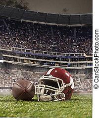 a, bola, futebol americano, jogadores, e, capacete, ligado,...