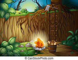 A bonfire in the jungle