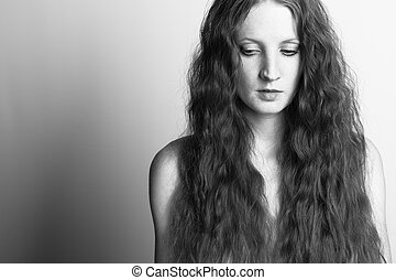 a, bonito, menina, com, cabelo ondulado