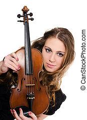 a, bonito, menina, com, um, violino