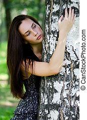 a, bonito, menina, plataformas, um, árvore