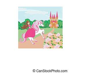 a, bonito, princesa, e, dela, cute, cavalo