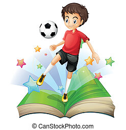 A book with a boy playing football