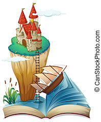 A book with a castle at the top of a cliff - Illustration of...