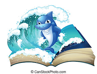 A book with a high wave and a big shark - Illustration of a...