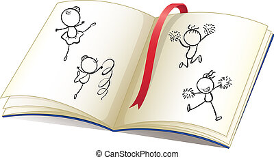 A book with a ribbon and images of kids dancing