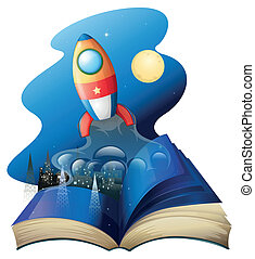 A book with a rocket - Illustration of a book with a rocket...
