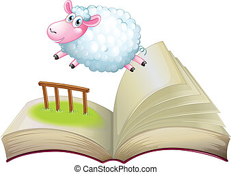 A book with a sheep jumping - Illustration of a book with a ...