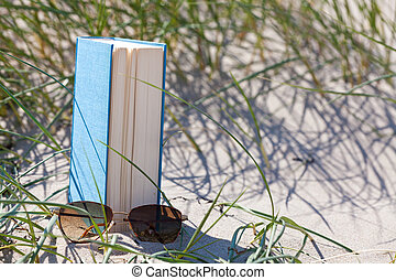 A book with a sunglass lying in the sand in a dune