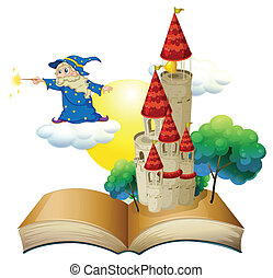A book with an image of a castle and a magician - ...