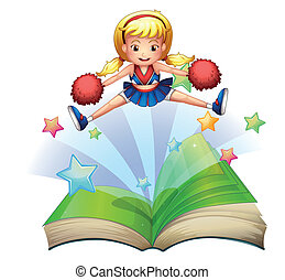 A book with an image of a cheerdancer dancing