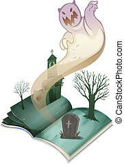 A book with an image of a graveyard