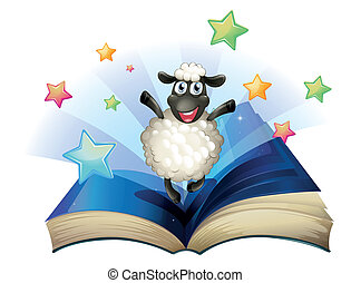 A book with an image of a happy sheep with stars