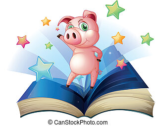 A book with an image of a pig dancing