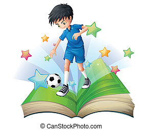 A book with an image of a soccer player